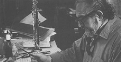 Meyer Kupferman composing at his desk